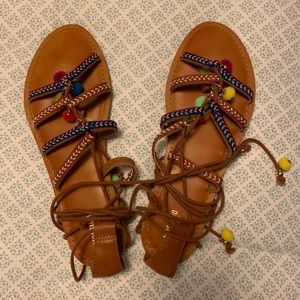 Mossimo Multicolor Beaded Lace Up Sandals sz 10